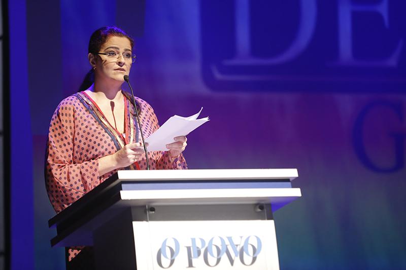 Presidente do Grupo de Comunicação O POVO, Luciana Dummar, durante o Prêmio Delmiro Gouveia de 2016.